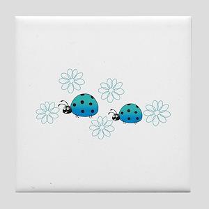 LADYBUGS AND DAISIES Tile Coaster