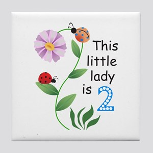 THIS LITTLE LADY IS TWO Tile Coaster
