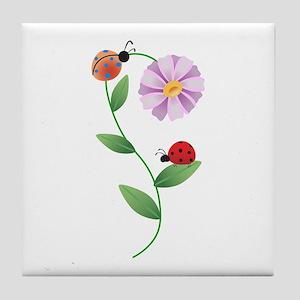 LADYBUGS ON DAISY Tile Coaster