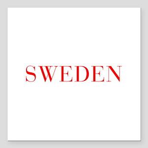 """Sweden-Bau red 400 Square Car Magnet 3"""" x 3"""""""
