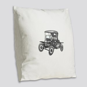 MODEL T CAR Burlap Throw Pillow