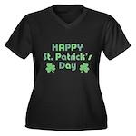 Happy St. Pa Women's Plus Size V-Neck Dark T-Shirt
