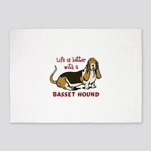 LIFE BETTER WITH BASSET 5'x7'Area Rug