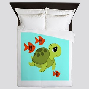 Sea Turtle Fish Ocean Swimmers Queen Duvet