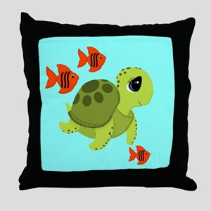 Sea Turtle Fish Ocean Swimmers Throw Pillow