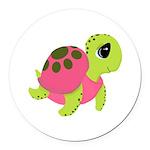 Pink Sea Turtle Round Car Magnet