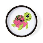 Pink Sea Turtle Wall Clock
