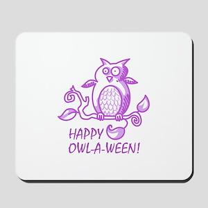 HAPPY OWL A WEEN Mousepad