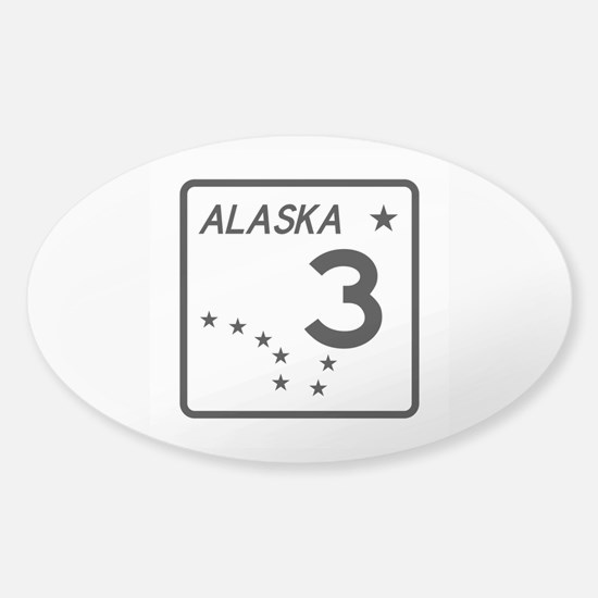 Route 3, Alaska Sticker (Oval)