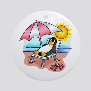 PENGUIN ON THE BEACH Ornament (Round)