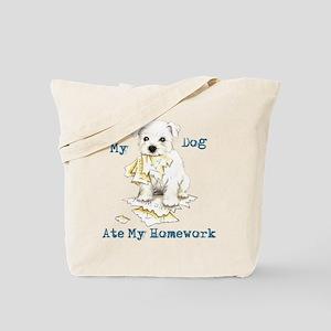 Westie Ate Homework Tote Bag