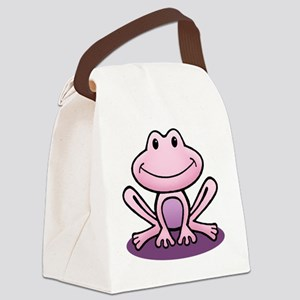 Pink Frog Canvas Lunch Bag