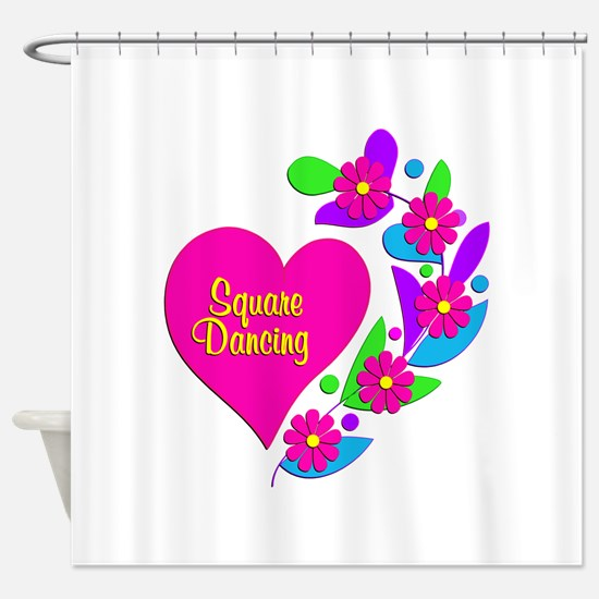 Square Dancing Heart Shower Curtain