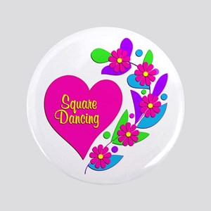 "Square Dancing Heart 3.5"" Button"