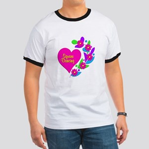 Square Dancing Heart Ringer T