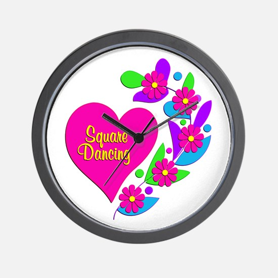 Square Dancing Heart Wall Clock