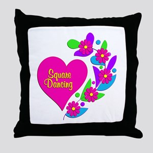 Square Dancing Heart Throw Pillow