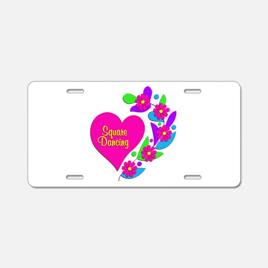 Square Dancing Heart Aluminum License Plate