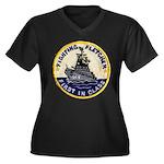 USS FLETCHER Women's Plus Size V-Neck Dark T-Shirt