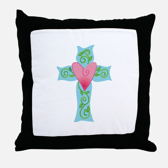 CROSS WITH HEART Throw Pillow