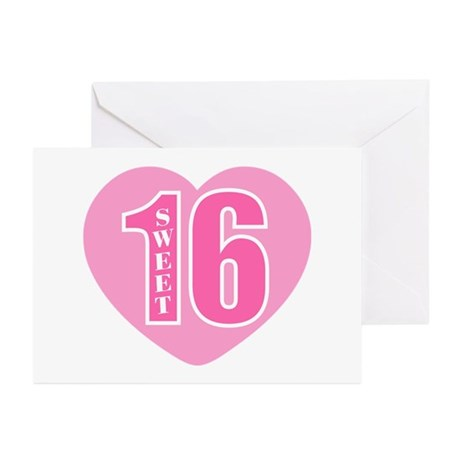 Sweet 16 (Heart) Greeting Cards (Pk of 20)
