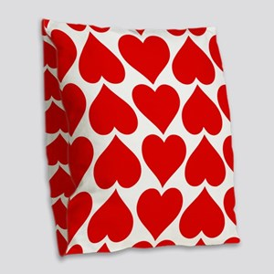 Red Hearts Pattern Burlap Throw Pillow