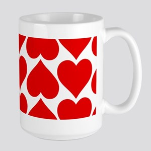 Red Hearts Pattern Large Mug