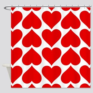 Red Hearts Pattern Shower Curtain