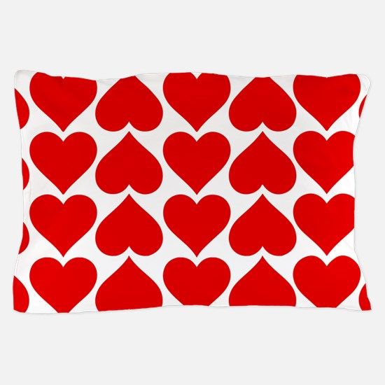 Red Hearts Pattern Pillow Case
