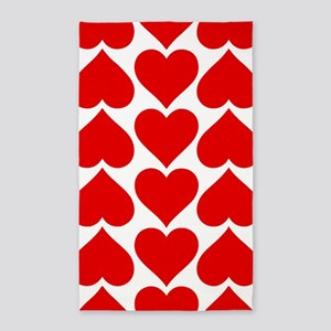 Red Hearts Pattern Area Rug