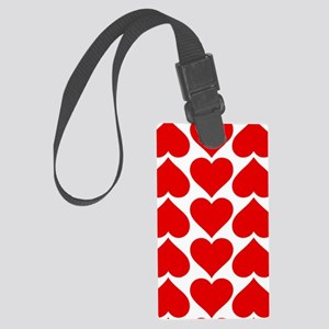 Red Hearts Pattern Large Luggage Tag