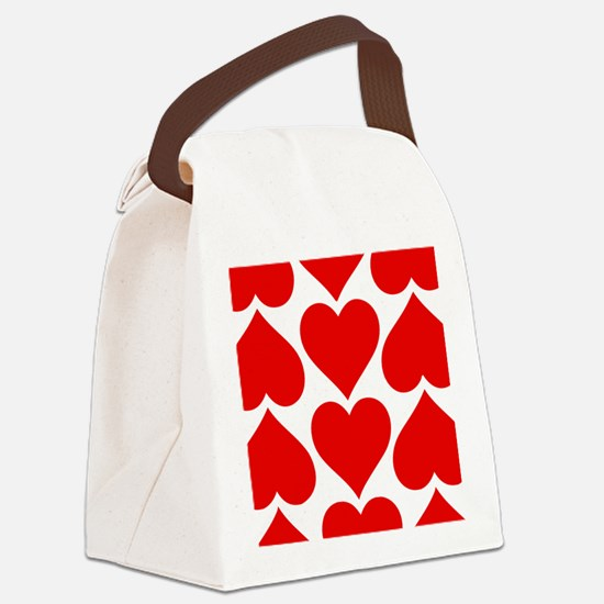 Red Hearts Pattern Canvas Lunch Bag