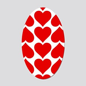 Red Hearts Pattern 20x12 Oval Wall Decal