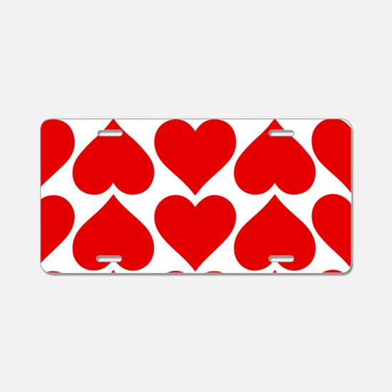 Red Hearts Pattern Aluminum License Plate