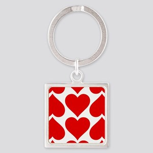 Red Hearts Pattern Square Keychain