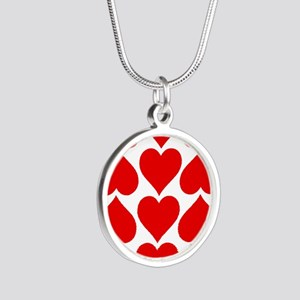 Red Hearts Pattern Silver Round Necklace