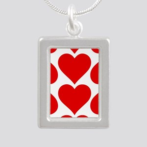 Red Hearts Pattern Silver Portrait Necklace