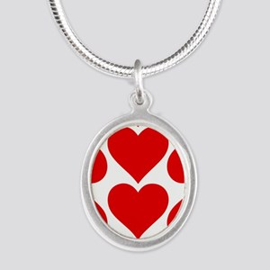 Red Hearts Pattern Silver Oval Necklace