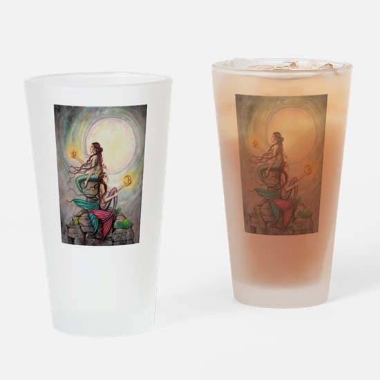 Gemini Mermaids Fantasy Art Drinking Glass