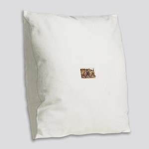 Brindle French Bulldogs Burlap Throw Pillow