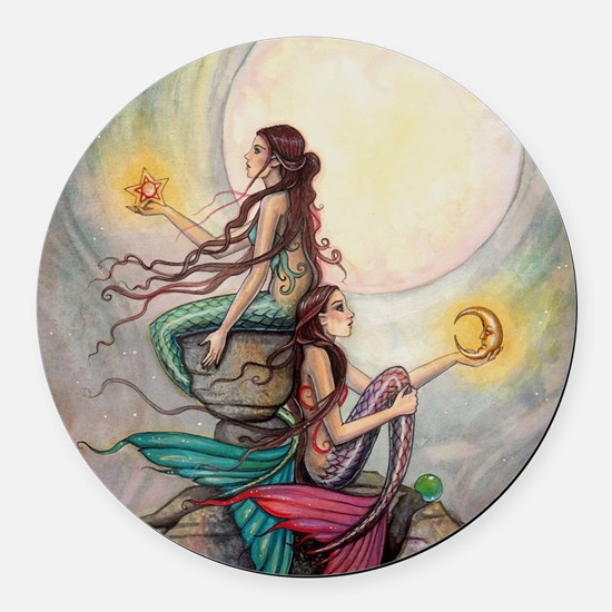 Gemini Mermaids Fantasy Art Round Car Magnet