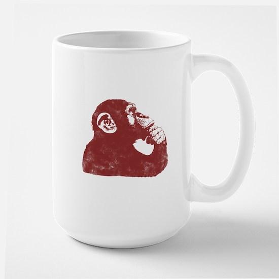 Thoughtful Monkey - Red Large Mug