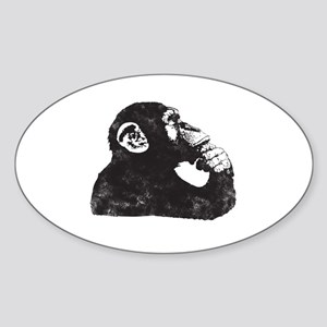 Thoughtful Monkey  Sticker (Oval)
