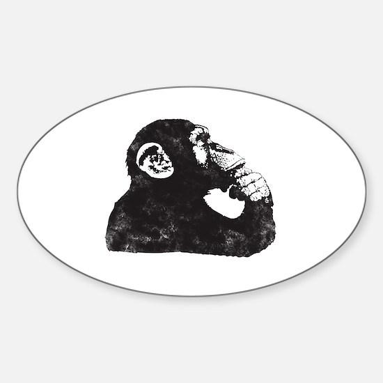 Thoughtful Monkey  Sticker (Oval)