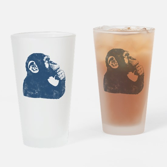 Thoughtful Monkey - Blue Drinking Glass