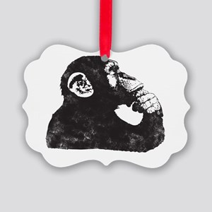 Thoughtful Monkey  Picture Ornament