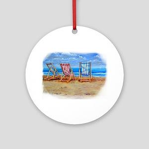 Beach Chairs Ornament (Round)