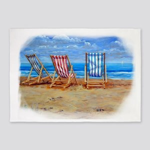 Beach Chairs 5'x7'Area Rug