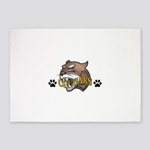 COUGAR WITH PAW PRINTS 5'x7'Area Rug