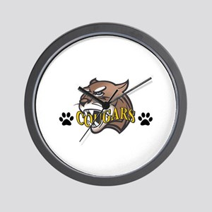 COUGAR WITH PAW PRINTS Wall Clock